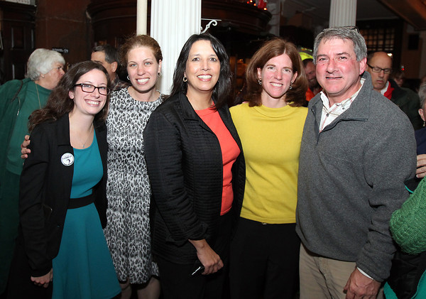 Salem: From left, newly elected Ward 2 Councilor Heather Famico, newly elected Ward 6 Councilor Beth Gerard, re-elected Mayor Kim Driscoll, and newly elected School Committee members Rachel Hunt and Patrick Schultz, pose for a photo at a Salem Election Party held at Rockafellas on Tuesday evening. David Le/Salem News