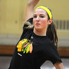 Peabody:<br /> Jen Crovo of Bishop Fenwick's volleyball team at practice preparing for the Division 2 state semifinal against Notre Dame of Hingham. <br /> Photo by Ken Yuszkus / The Salem News, Tuesday, November 12, 2013.