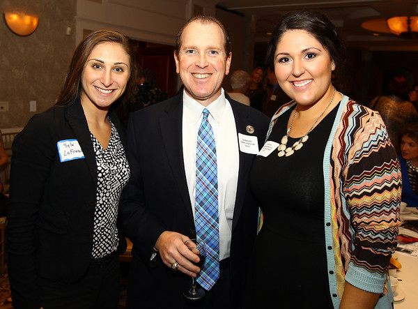 Lynnfield: From left, Sylvi LaFrazia, Edward Palleschi, and Christina Koumoundouros, at the 82nd Dinner and Ankeles Award Ceremony held by the Peabody Area Chamber of Commerce at Spinelli's on Route 1 in Lynnfield on Wednesday evening. David Le/Salem News