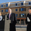 Salem:<br /> Secretary of Housing & Economic Development Greg Bialecki, center, speaks about the MassWorks Infrastructure Program in the  Salem's North River Canal Corridor with state senator Joan Lovely on the left and Salem Mayor Kim Driscoll on the right.<br /> Photo by Ken Yuszkus / The Salem News, Wednesday, November 13, 2013.