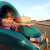Marblehead: Saylor Caruso, 9, of Marblehead, zooms out of a slide at Devereaux Beach in Marblehead on Thursday afternoon. David Le/Salem News