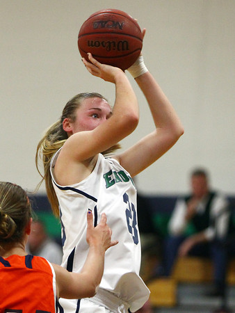 Beverly: Endicott senior captain Samantha Crough (23) rises up for a jump shot on Thursday evening against Salem State. Crough scored 30 points and grabbed 7 rebounds to lead the Gulls to a 79-74 win over the Vikings. David Le/Salem News