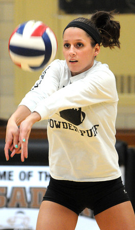 Peabody:<br /> Kate Lipka of Bishop Fenwick's volleyball team at practice preparing for the Division 2 state semifinal against Notre Dame of Hingham. <br /> Photo by Ken Yuszkus / The Salem News, Tuesday, November 12, 2013.