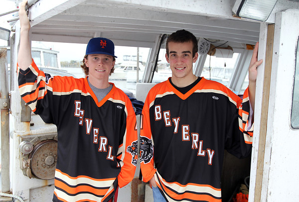 Beverly: Beverly High School juniors Tim Biarelli, right, and Ted Leathersich, are best friends who work together lobstering on Biarelli's boat. The friends go out every day during the summer and on the weekends during the school year. Biarelli, the Panthers starting goaltender, and Leathersich, one of the Beverly forwards, will lead the Panthers in the 2013-2014 campaign. David Le/Salem News