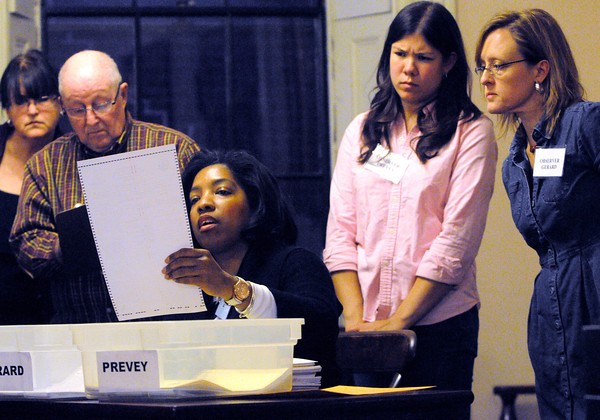 Salem:<br /> Rochelle Sport, who works in the city election office, examines a ballot with others looking over her shoulder during the election ballot recount at Salem City Hall. Councilor Paul Prevey requested a recount of the ballots from Nov. 5.<br />  Photo by Ken Yuszkus / The Salem News, Monday, November 25, 2013.