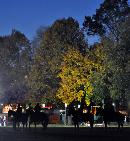 Salem: The mounted police gathers at the common before making rounds around downtown. photo by Mark Teiwes / Salem News