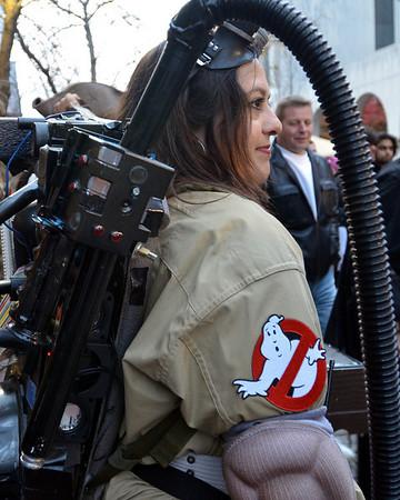 Salem: Maria LoPresti dressed as a Ghost Buster.  photo by Mark Teiwes / Salem News