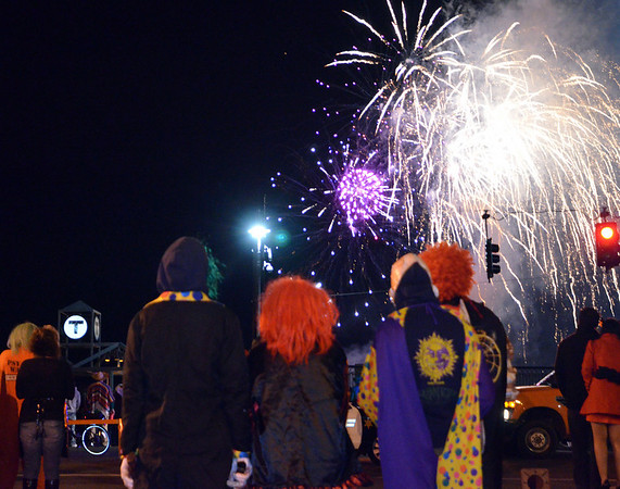 Salem: The fireworks signaled the end of the celebration drawing the crowds out to the train station.  photo by Mark Teiwes / Salem News