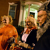 Salem:  Mark Howell, right, and Krista Kerin of Bolton, CT came to celebrate with their sister Valerie Kerin of Worcestester, left. They planned to spend the evening at the Hawthorne Hotel's Halloween ball. photo by Mark Teiwes / Salem News