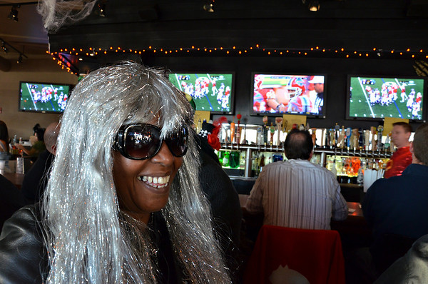 Salem: Artemisa Monteiro of Roxbury watched the Patriots game in style at the Tavern in the Square. photo by Mark Teiwes