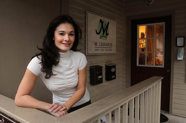 Wenham:<br /> Maria Lekkakos, owner of M. Lekkakos salon, stands in front of her business on Main Street.<br /> Photo by Ken Yuszkus/Salem News,  Wednesday,  November 17, 2010.