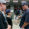 Williamsport: Mike Dellisola of Peabody, speaks to his sons, James and  Derek, at the consession stand. They were watching the Canada vs Mexico game, during the 2009 Little League World Series. Photo by Mark Lorenz/Salem News
