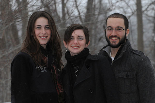 Beverly:<br /> Tall girl is Lauren Pitts, Chelsea King, and Derek McDonald. They are young people who helped document veterans graves.<br /> Photo by Ken Yuszkus/Salem News, Wednesday, January 26, 2011.