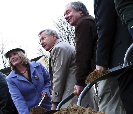 Peabody: Martha Holden library director, Mayor Michael Bonfanti and Bill Power, during a groundbreaking ceremony. The ceremony took place at George Peabody House Museum. Photo by Mark Lorenz/Salem News, Thursday, January 24, 2008