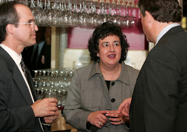 Salem: (center)  Ellen Talkowsky, of Salem, talks with (L) Jay Finney and Salem Mayor Stanley Usovicz during the Salem Chamber of Commerce Dinner held at the Hawthorne Hotel on Wednesday eveing.  Talkowsky was one of the award recipients.  <br /> Photo by Kristen Olson/Salem News. Wednesday, June 1, 2005