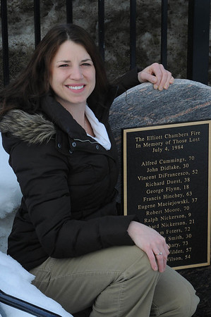 Beverly:<br /> Amanda Mazzaglia of Beverly is one of the founders of the Elliott Chambers Memorial Foundation, which raised money to create a memorial in honor of the 15 victims of the 1984 Elliott Chambers rooming house fire in Beverly.<br /> Photo by Ken Yuszkus/Salem News, Monday, February 7, 2011.