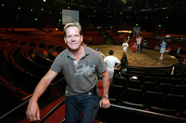 North Shore Music Theatre is reopening next week after being closed for more than a year. New owner, Bill Hanney, sits in the theatre as during children's rehearsal for a scene in the upcoming production of Gypsy. Photo by Deborah Parker/July 1, 2010