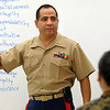 Salem:<br />  Salem High teacher David Flores, a retired Marine major who runs the school's Jr. ROTC program addresses his class.<br /> Photo by Ken Yuszkus/Salem News, Wednesday October 7, 2009.