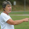 Peabody:<br /> Lorraine Benoit, Peabody High field hockey coach, yells instructions to the players during practice. Coach Benoit is in her 40th, and FINAL, season as the head field hockey coach at Peabody.<br /> Photo by Ken Yuszkus/Salem News, Thursday,  September 9, 2010.<br /> , Peabody:<br /> Lorraine Benoit, Peabody High field hockey coach, yells instructions to the players during practice. Coach Benoit is in her 40th, and FINAL, season as the head field hockey coach at Peabody.<br /> Photo by Ken Yuszkus/Salem News, Thursday,  September 9, 2010.