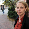 Salem:<br /> Jasper Swiniuch stands at the spot on Church Street where she helped give a man chest compressions to revive him and get him to the hospital. The incident happened Wednesday morning.<br /> Photo by Ken Yuszkus/Salem News, Thursday,  October 28, 2010.
