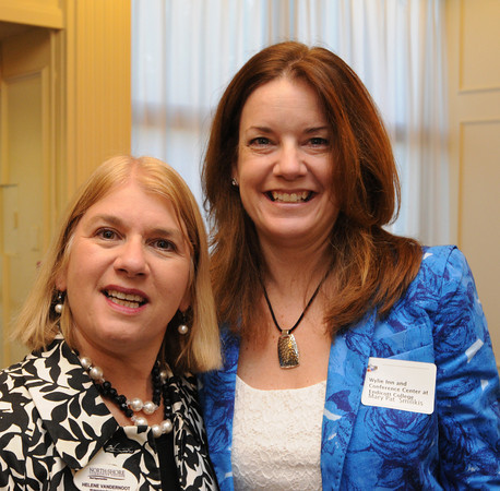 Danvers:<br /> Helene VanDernoot, of the Institute For Corporate Training and Technology, left, and Mary Pat Smilikis of Wylie Inn and Conference Center, attended the North Shore Chamber breakfast. State auditor Suzanne Bump was the main speaker at the event.<br /> Photo by Ken Yuszkus, The Salem News, Wednesday, October 02, 2013.