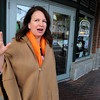 Salem:<br /> Karen Scalia, owner of Salem Food Tours, speaks about her business while walking through Salem.<br /> Photo by Ken Yuszkus, The Salem News,  Thursday, October 10, 2013.