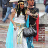 Salem:<br /> Kara and Shaun Kiever of San Diago, CA, walk under an umbrella to protect themselves against the rain on Essex Street in Salem on Halloween.<br /> Photo by Ken Yuszkus / The Salem News, Thursday, October 31, 2013.