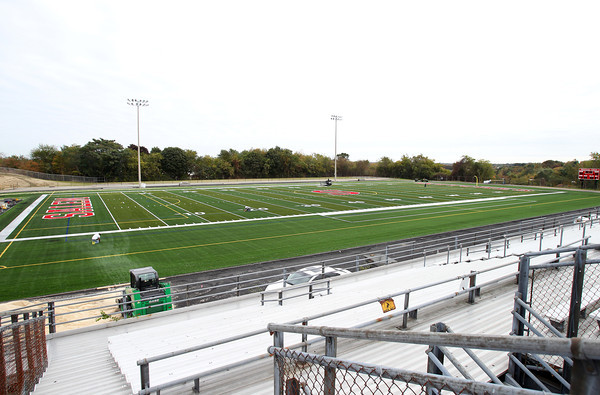 Salem: The new turf at Bertram Field in Salem has been laid down, along with logos and field lines painted in preparation for the opening of the stadium. David Le/Salem News