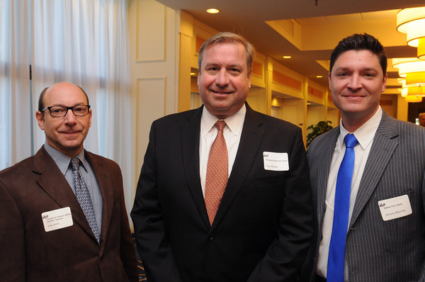Danvers:<br /> From left, Lou Arak of Footprint Power, Paul McNeil, Peabody Marriott Hotel, and Jeremy Blanche, Salem Five Bank, attended the North Shore Chamber breakfast. State auditor Suzanne Bump was the main speaker at the event.<br /> Photo by Ken Yuszkus, The Salem News, Wednesday, October 02, 2013.