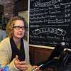 Salem:<br /> Sharon Driscoll of Milk & Honey Green Grocer talks about her business which is one of the stops on the Salem Food Tours.<br /> Photo by Ken Yuszkus, The Salem News,  Thursday, October 10, 2013.