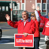 Beverly: Beverly Mayoral candidate Wes Slate waves to passing cars while campaigning outside Carroll's Florist at the corner of Rantoul and Cabot Streets on Saturday morning. David Le/Salem News