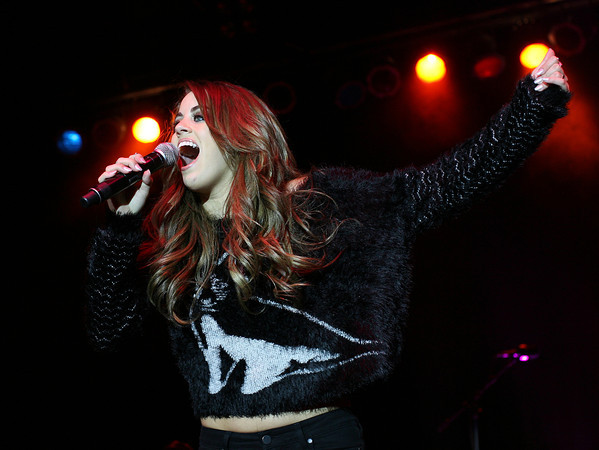 """Topsfield: Beverly native and American Idol Season 12 contestant Angie Miller performed for hundreds of fans at the Grandstand at the Topsfield Fair on Tuesday evening. Angie Miller sings """"Paradise"""" by Coldplay in front of hundreds of fans. David Le/Salem News"""