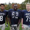 Middleton: North Shore Tech junior Ricky Valenzuela (CB/WB), sophomore Brent Campbell (DT/OT), and sophomore Bryan Raustead (C/DE). David Le/Salem News