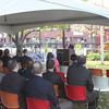 Residents and local and state officials attended a ceremonial groundbreaking for the city of Peabody's Main Street Corridor Realignment project, held Tuesday, Oct. 16, on the lawn of the Peabody Institute Library. <br /> Staff photo by Alan Burke