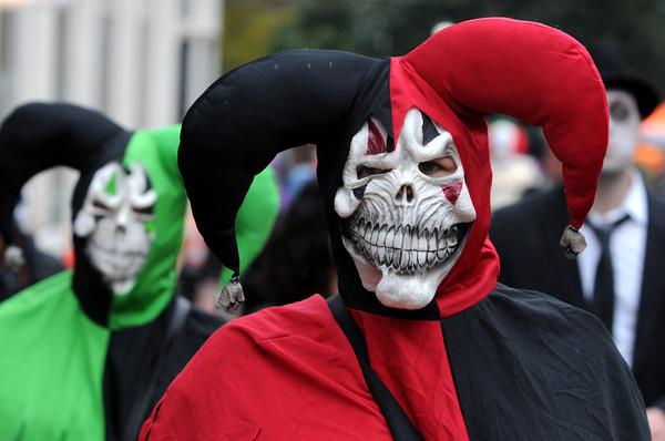 Salem:<br /> Eirika Gudjonsdottir came from Iceland to attend Halloween in Salem.<br /> Photo by Ken Yuszkus / The Salem News, Thursday, October 31, 2013.