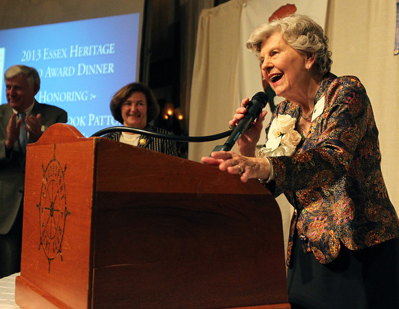Danvers: Joanne Holbrook Patton smiles as she gets a standing ovation after she received the Essex Heritage Hero Award on Wednesday evening. David Le/Salem News