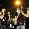 "Salem: Seventeen-year-olds Elizabeth Roush, left, and Leah Buonfiglio, right, from Dance Works Salem, dance along to Michael Jackson's ""Thriller"" while entering Salem Common on Thursday evening. David Le/Salem News"