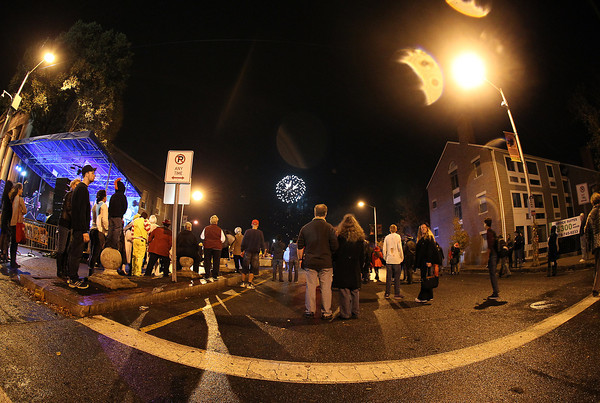 Salem: A large crowd of people gathered at the end of Washington St to enjoy the fireworks, signaling the end of Halloween night in Salem. David Le/Salem News