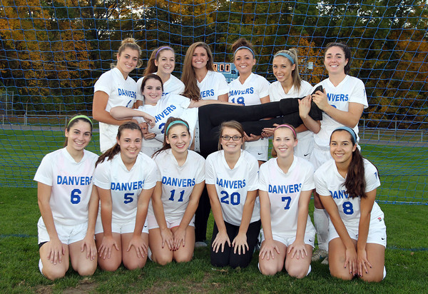 Danvers: Danvers High School senior Nicole Harrison (26), center, has been the team manager for over two years. She was diagnosed with cystic fibrosis when she was 5 years old, and to show their support for their teammate, the Danvers Girls Soccer team will hold a cystic fibrosis awareness night for her on Saturday evening. Harrison is surrounded by her classmates: Kasey Nestor, Cate Raftery, Erin Loehner, Leah Ciampa, Nicole Belanger, Ashley Arnoldy, Courtney Arnoldy, Delaney Zecha, Kylie Plaza, Stephanie Kowalski, Kaitlyn Bates, and Caitlin Tivnan. David Le/Salem News