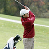 Georgetown:<br /> Steven Dilisio of St. John's Prep hits toward the 16th hole at the Division 1 golf championship held at the Black Swan Country Club in Georgetown.<br /> Photo by Ken Yuszkus / The Salem News, Monday, October 28, 2013.