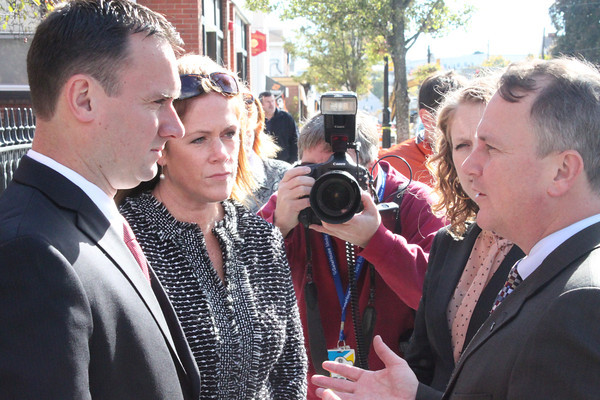Peabody Mayor Ted Bettencourt, Community Development Director Karen Sawyer and Lt. Gov. Tim Murray speak at the Main Street Corridor Realignment groundbreaking in downtown Peabody Oct. 16.