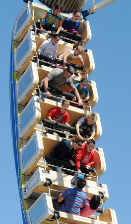 Topsfield:<br /> People react to riding the Pharaoh's Fury ride at the Topsfield Fair on the last day of the fair.<br /> Photo by Ken Yuszkus, The Salem News,  Monday, October 14, 2013.