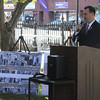 With plans for the Main Street Corridor Realignment project in plain view, Peabody Mayor Ted Bettencourt speaks at the project's official groundbreaking ceremony, held Tuesday, Oct. 16.<br /> Staff photo by Alan Burke