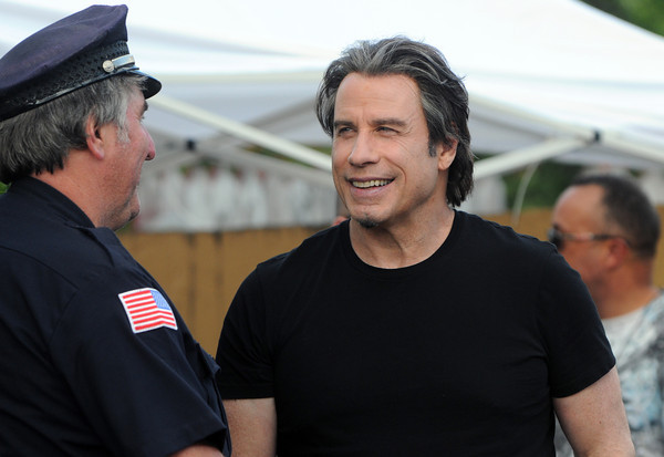 Danvers:<br /> John Travolta at the movie set at Denny's restaurant in Danvers on Monday afternoon.<br /> Photo by Ken Yuszkus, The Salem News, Monday, October 07, 2013.