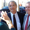 Beverly:<br /> Wes Slate, left, and Beverly Mayor Bill Scanlon pose for photos after the press conference where the mayor endorsed Wes Slate as a candidate for mayor in Beverly.<br /> Photo by Ken Yuszkus, The Salem News, Tuesday, October 01, 2013.