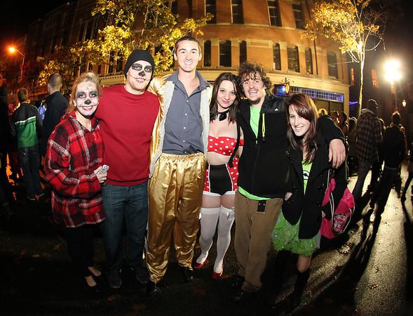 Salem: From left, Becca Beaulieu, Drew Hammon, Paul Couture, Janelle Gould, Jimmy Towey, and Sydney Kasierski, enjoy the Halloween night festivities in downtown Salem. David Le/Salem News