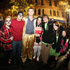 Salem: From left, Becca Beaulieu, Drew Hammon, Paul Couture, Janelle Gould, Jimmy Towey, and Sydney Kasierski, enjoy the Halloween night festivities in downtown Salem. David Le/Salem News