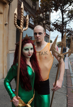 Salem:<br /> Ashley Oliver and Harry Garrott, both of Albany, New York are dressed in their Halloween costumes while roaming Salem.<br /> Photo by Ken Yuszkus / The Salem News, Thursday, October 31, 2013.