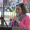 Peabody Chamber of Commerce Executive Director Deanne Healey speaks during the Main Street Corridor Realignment project groundbreaking ceremony Oct. 16. <br /> Staff photo by Alan Burke
