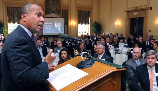 Salem:<br /> Gov. Deval Patrick speaks during the North Shore Chamber of Commerce's Leadership Breakfast with Governor Deval Patrick at The Hawthorne Hotel.<br /> Photo by Ken Yuszkus, The Salem News,  Wednesday, October 16, 2013.
